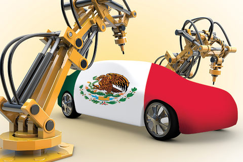 Sue Abt designed art showing car manufacturing upgrades in Mexico