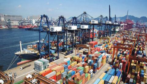 A poor showing at Hutchison Port Holdings' Hong Kong terminals, one of which is pictured, negatively impacted the company's overall volume and revenue in the first half.