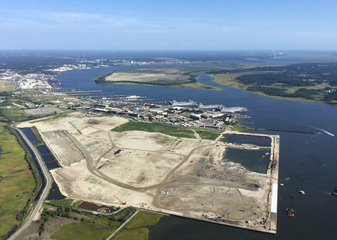 The Hugh K. Leatherman terminal at the Port of Charleston, pictured under construction, will increase the port's overall capacity by 50 percent upon completion.