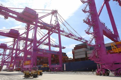 Incheon Port, pictured, in the first half recorded its largest ever throughput for a half-year period with 1.24 million TEUs.
