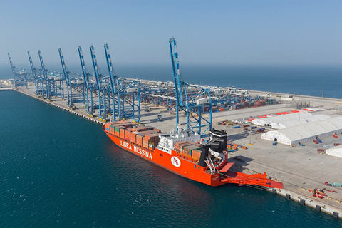 Khalifa Port, pictured, could eventually be able to handle 15 million 20-foot-equivalent units annually.