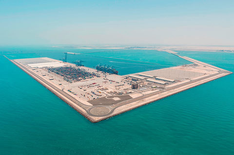 Khalifa Port, pictured, will be able to handle 15 million 20-foot-equivalent units annually when complete.
