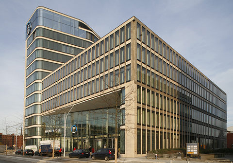 Kuehne + Nagel, the German headquarters of which is pictured, in the second quarter handled more than 1 million TEUs in a single quarter for the first time.