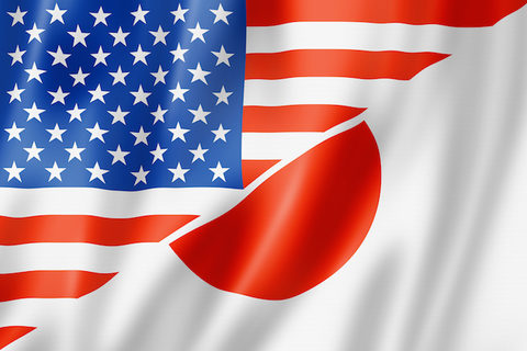 US, Japan flags