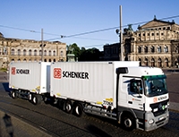 DB Schenker truck and trailers