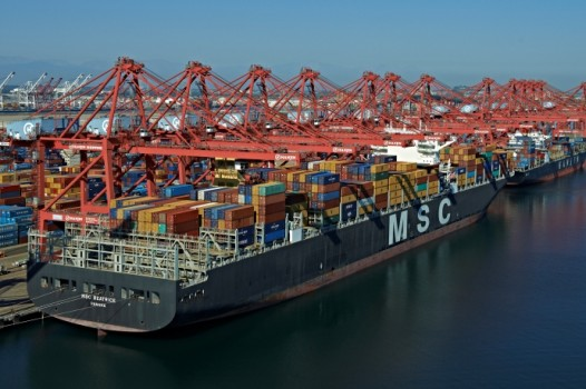 The 13 000 Teu Msc At Port Of Long Beach
