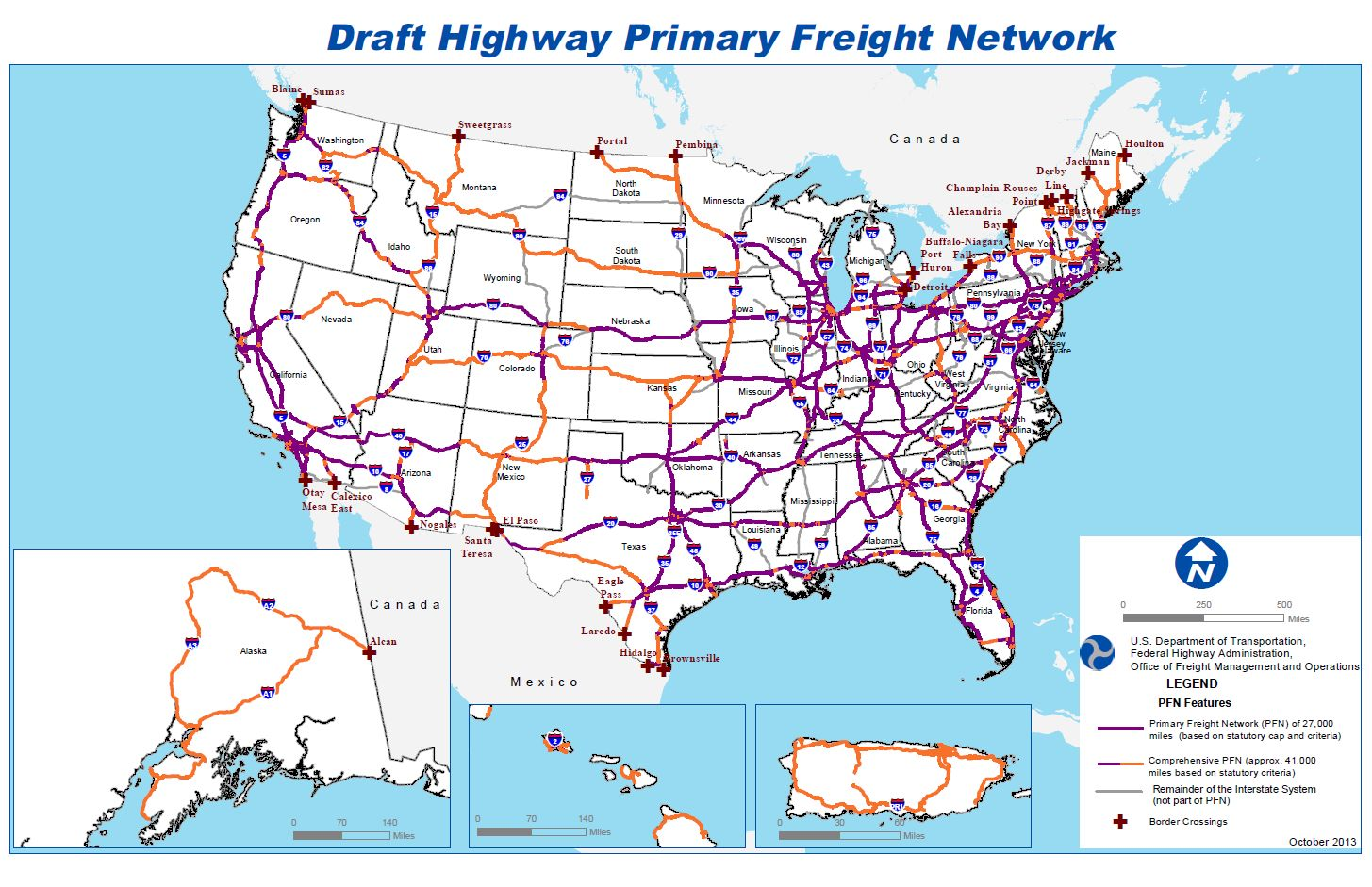 DOT Proposes Highways For Freight Network - Us map of highways