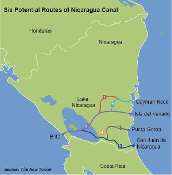 Nicaraguan Official Discusses Possible Canal Routes